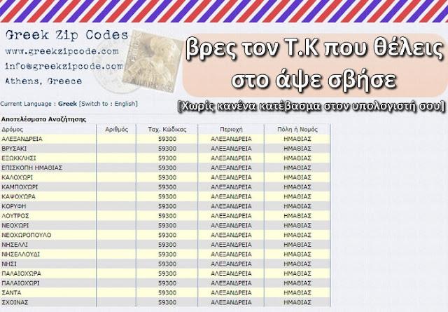 Δωρεάν online εφαρμογή με όλους τους ταχυδρομικούς κωδικούς της Ελλάδας