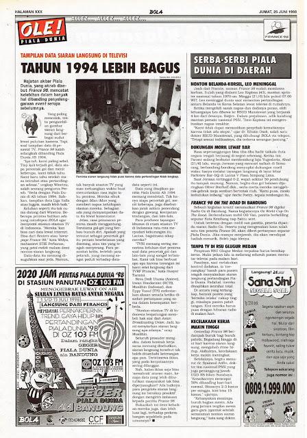 TAMPILAN DATA SIARAN LANGSUNG PIALA DUNIA 1998 DI TELEVISI