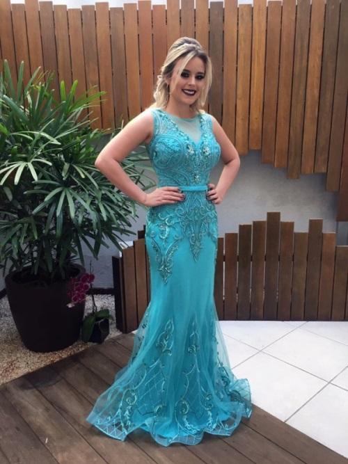 vestido de festa azul mar
