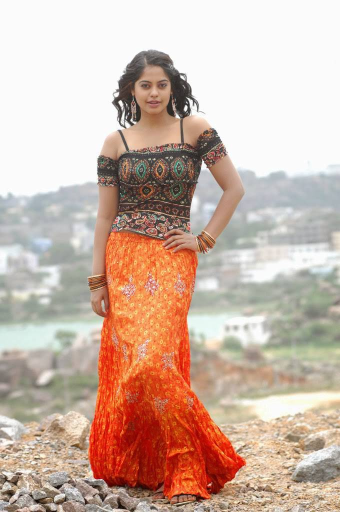 Glamorous Film Actress Bindu Madhavi Photos In Orange Gown