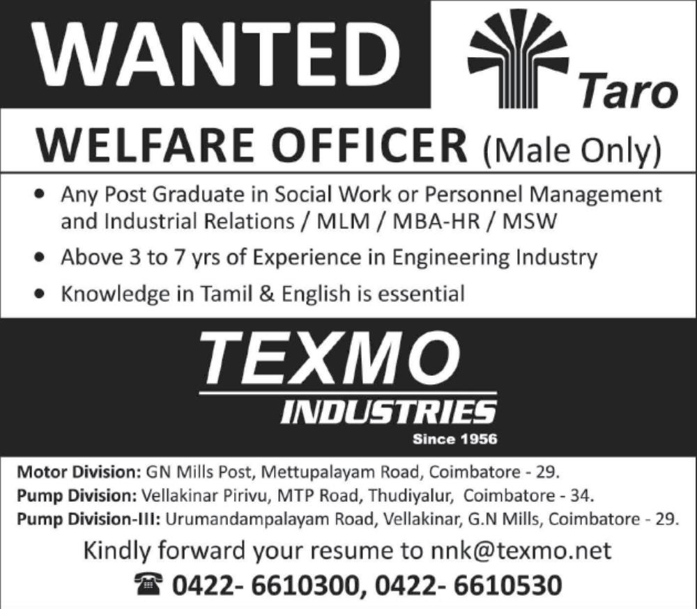 Wanted Welfare Officer in Texmo Industries / MLM /MBA-HR/MSW Can ...