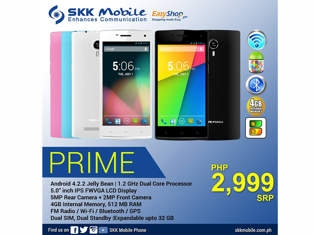 SKK Prime Now Available: 5-inch, Dual Core Smartphone for Php 2,999