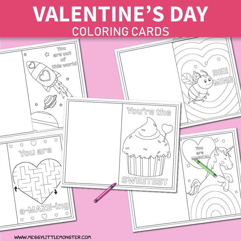 Printable Coloring Valentines Day Cards