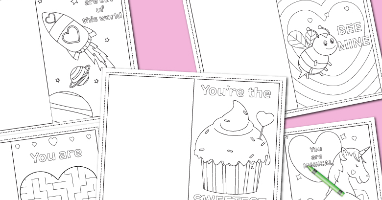 Printable Coloring Valentines Day Cards Messy Little Monster