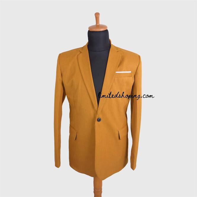 limited shoping bk04 model manekin jas kancing satu blazer single button mustard