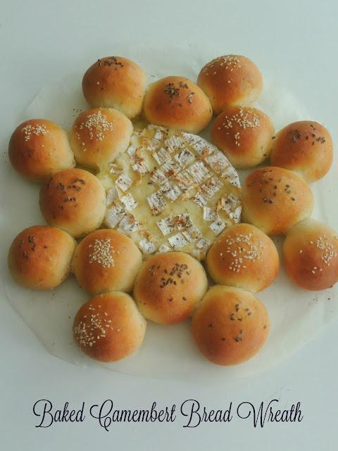 Eggless Baked camembert bread wreath
