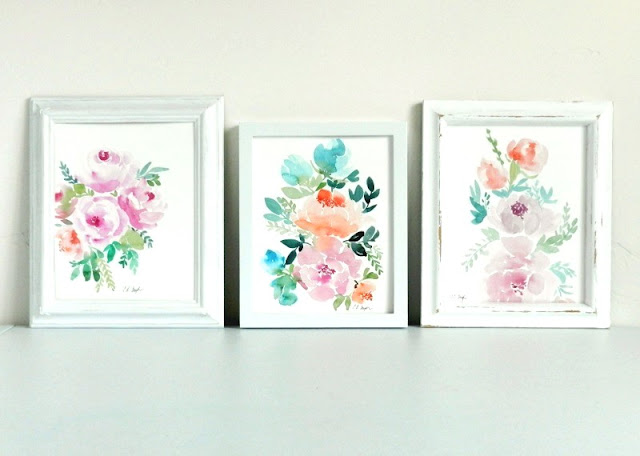 three framed watercolor flower paintings: grow creative blog