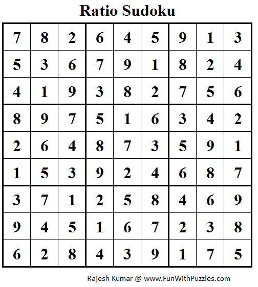 Ratio Sudoku (Puzzles for adults) Solution