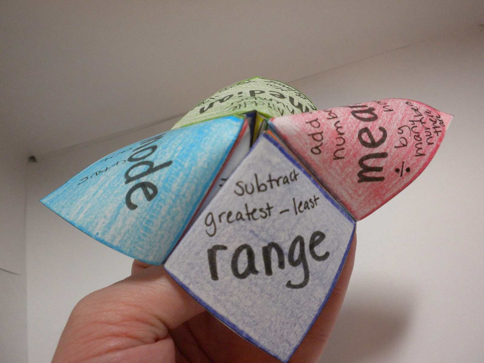 I Is A Number Measures Of Central Tendency Cootie Catcher