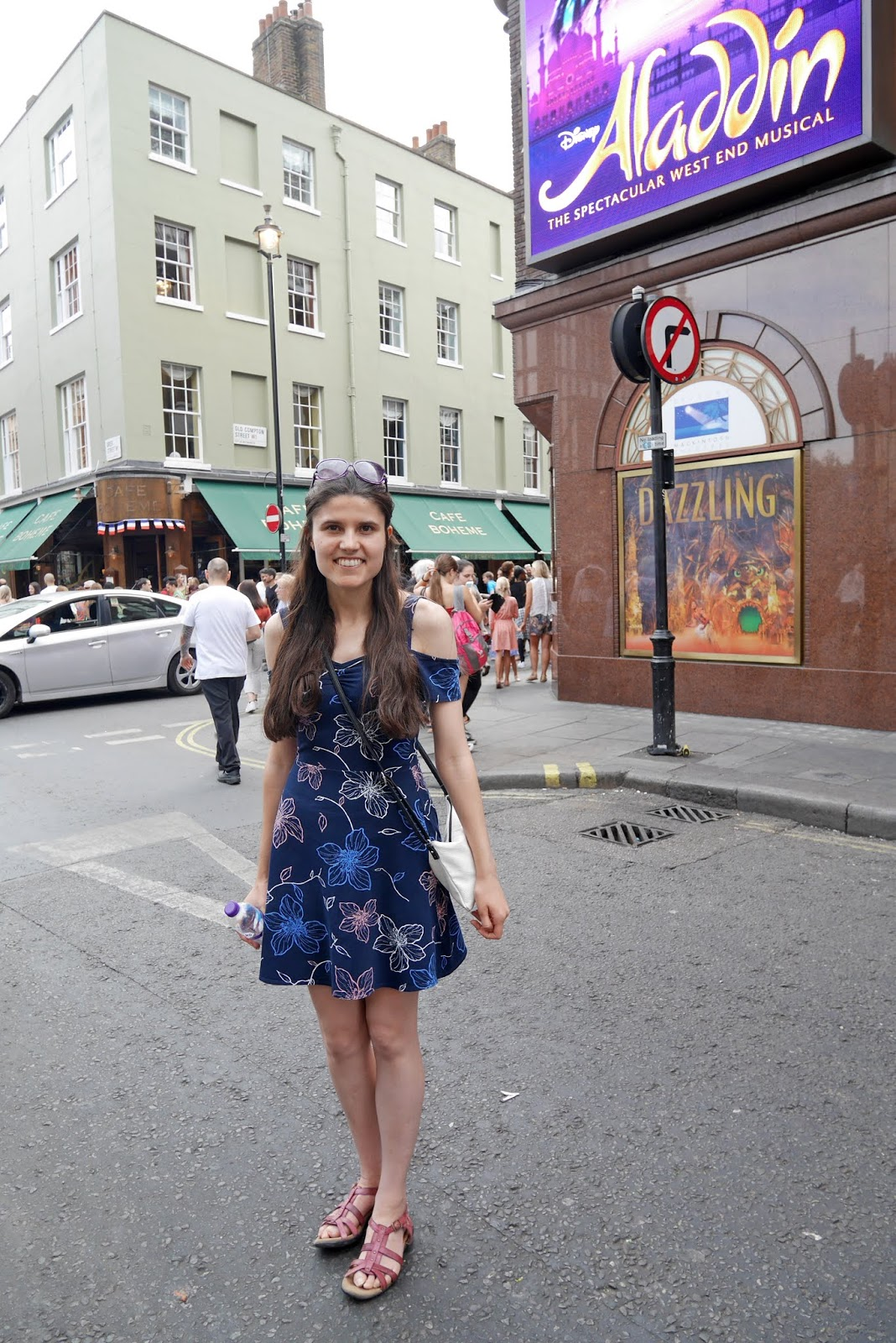 Kat Last outside the Prince Edward Theatre in London which is home to Aladdin The Musical