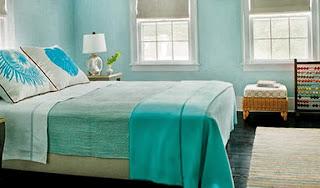 diseño de dormitorio blanco turquesa