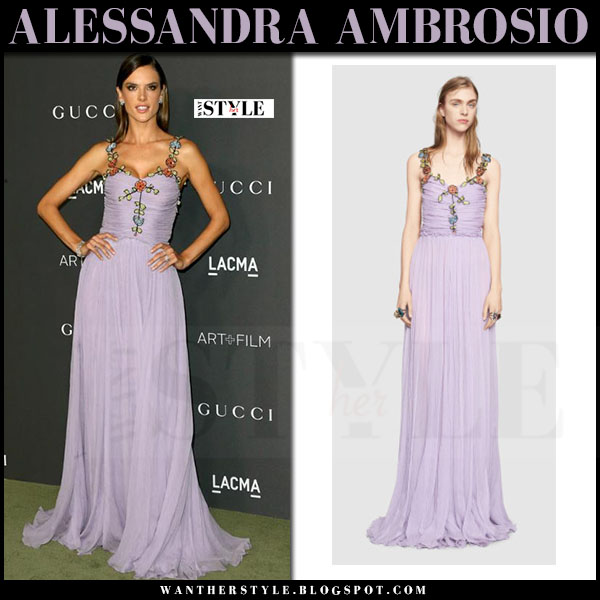 Alessandra Ambrosio in lavender chiffon floral strap gown gucci red carpet what she wore