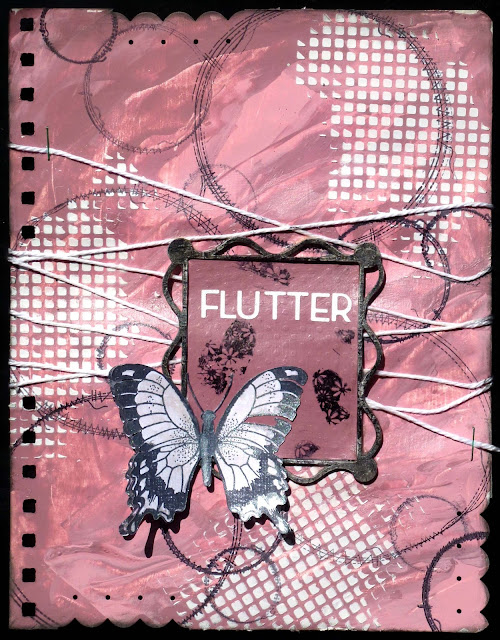 Art Journal, acrylic paint, stencil, texture paste, staples, butterfly, twine, stamping, chipboard, punch, rub-ons, heat embossing