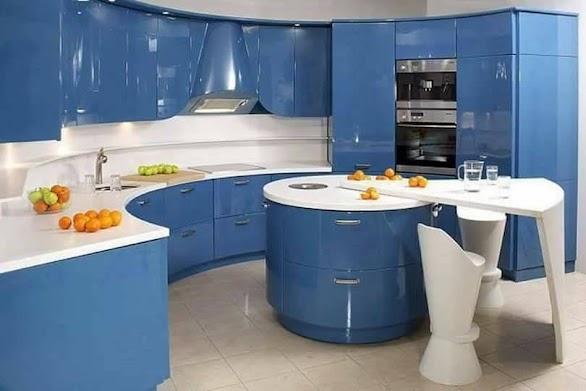 Desain Dapur Modern Unik Nuansa Biru 15