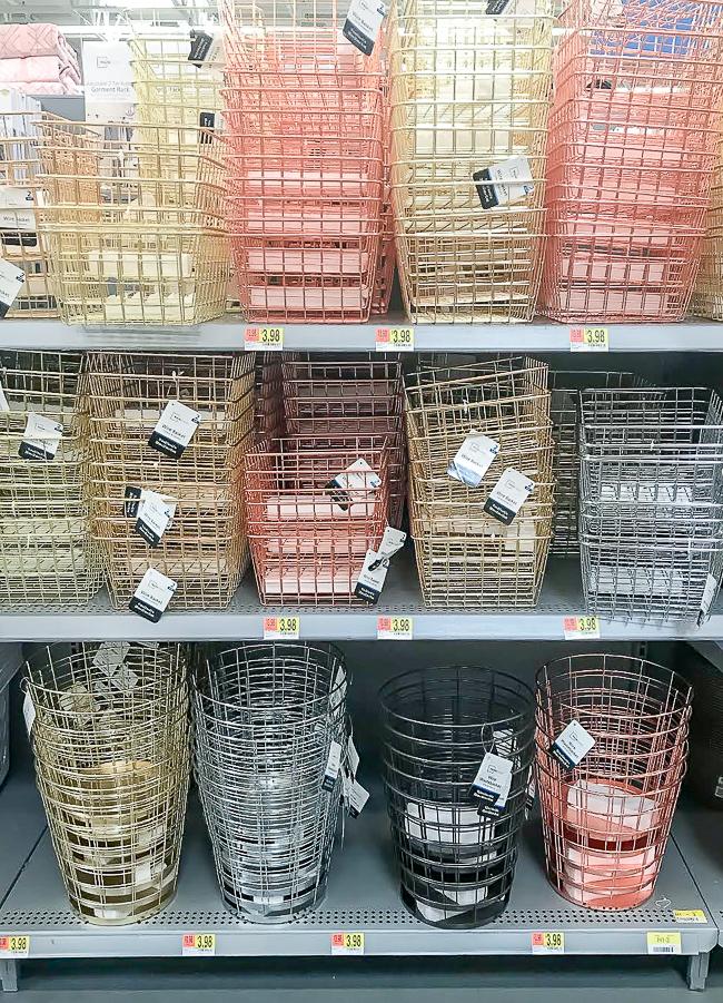 Wire storage baskets from Walmart