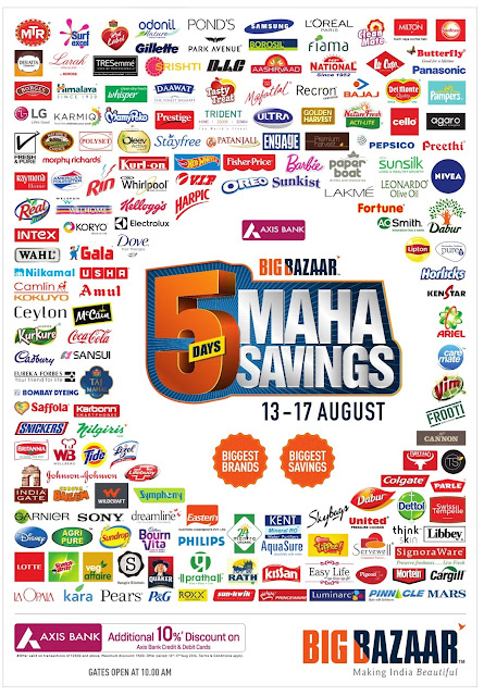 Big Bazar & FBB 5 days Maha savings | August 2016 discount offers
