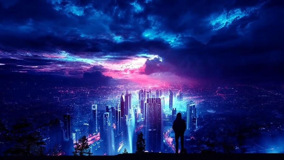 Night, Sky, City, Buildings, Digital Art, 4K, #4.1990