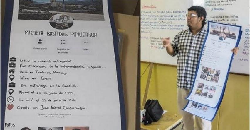 Profesor enseña historia del Perú con perfiles de Facebook a sus alumnos en Ica