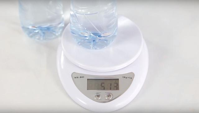 peso, bascula, botella, agua, solida, liquida, experimento