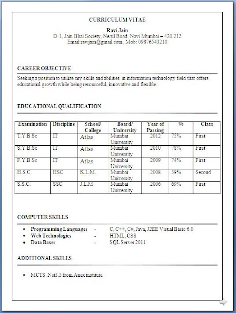 HR Resume CV Templates HR Templates Free Premium  It Resume Format