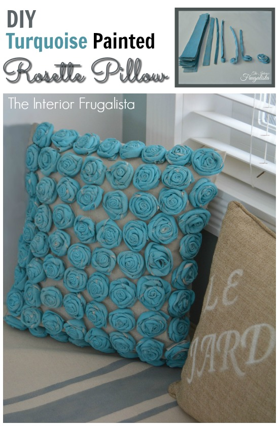 DIY drop cloth rosette pillow