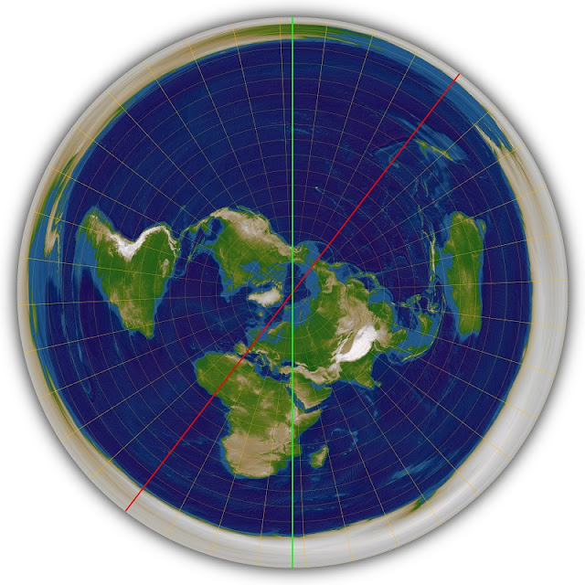 Gaian Prime Meridian on Polar Azimuthal Equidistant Projection