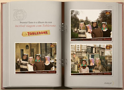 Álbum virtual de viagem. Aplicativo do Toblerone.