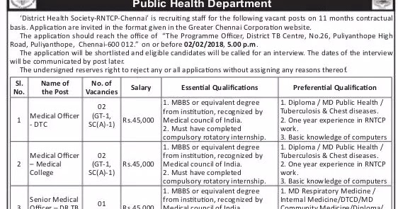 Chennai Corporation Recruitment 2018 129 DEO, Lab Technician Posts ...