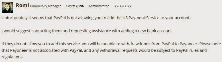 Staff on payoneer forums