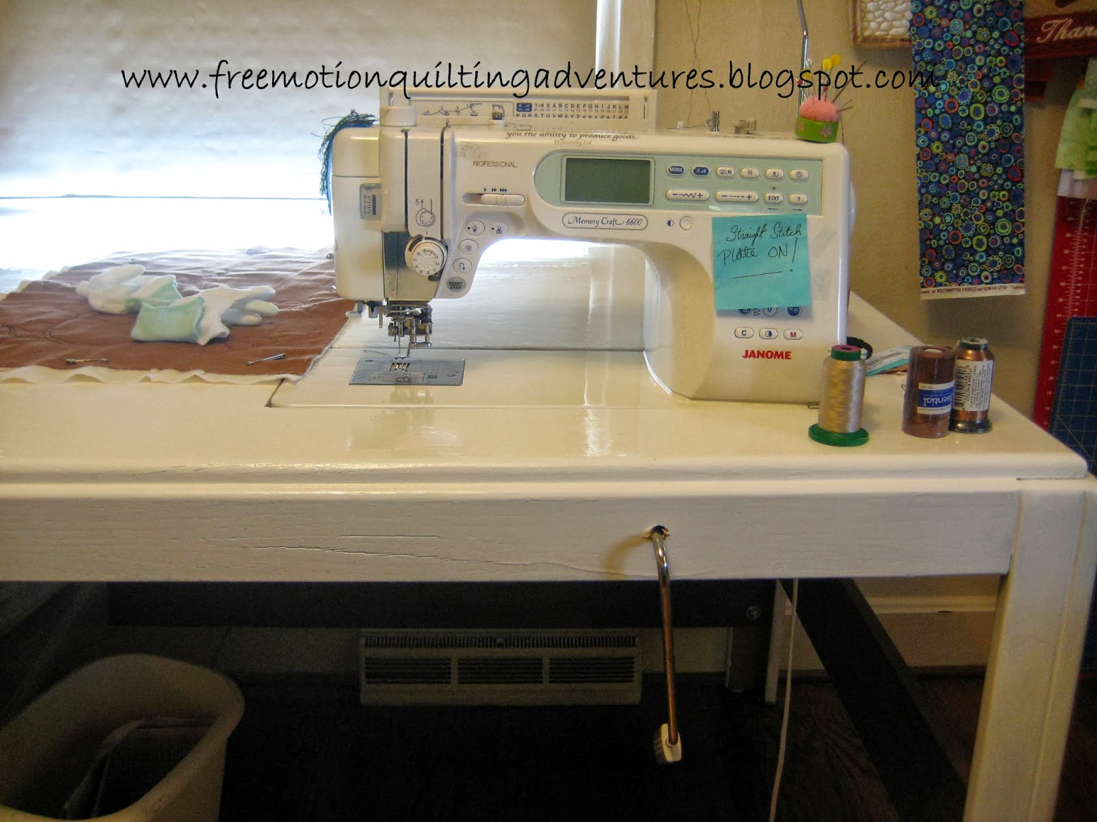 Amys free motion quilting adventures how to make a sewing machine free motion quilting table diy watchthetrailerfo