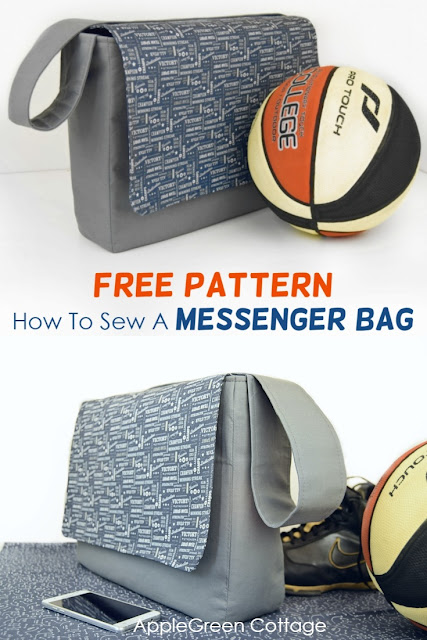 Messenger bag pattern - a free sewing pattern plus tutorial to make a large messenger bag with pockets. Grab your free template!