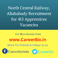 North Central Railway, Allahabady Recruitment for 413 Apprentices Vacancies