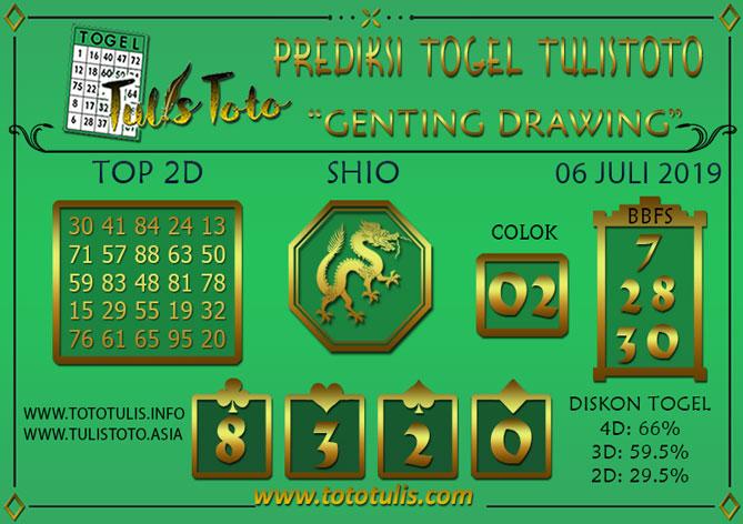 Prediksi Togel GENTING DRAWING TULISTOTO 06 JULI 2019