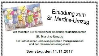 REILINGEN: St. Martins-Umzug der katholischen und evangelischen Pfarrgemeinden am Samstag, den 11.11.2017  http://tvueberregional.de/37645-2/