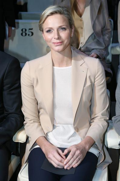 Princess Charlene attends Giorgio Armani - Front Row - MFW F/W 2013