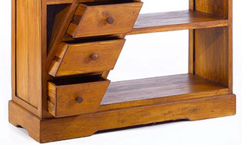 Jepara teak wood bookcase minimalist style very beautiful diagonal drawer