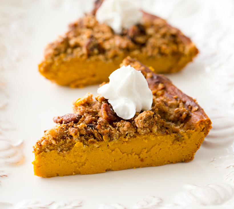 Pumpkin Pecan Bites Recipe: Crustless Pumpkin Pie With Pecan Streusel