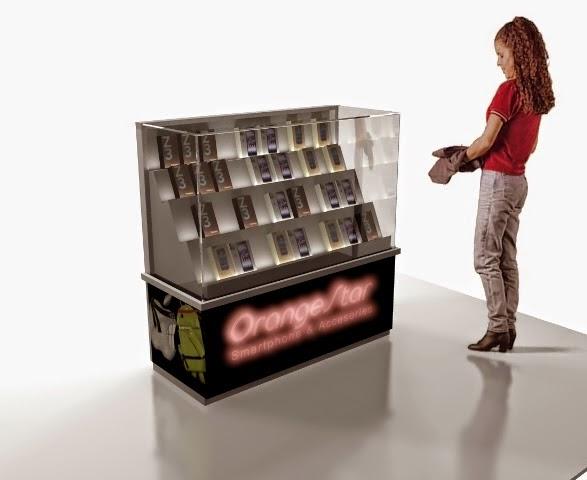 desain 3d Kiosk konter Produk Smartphone