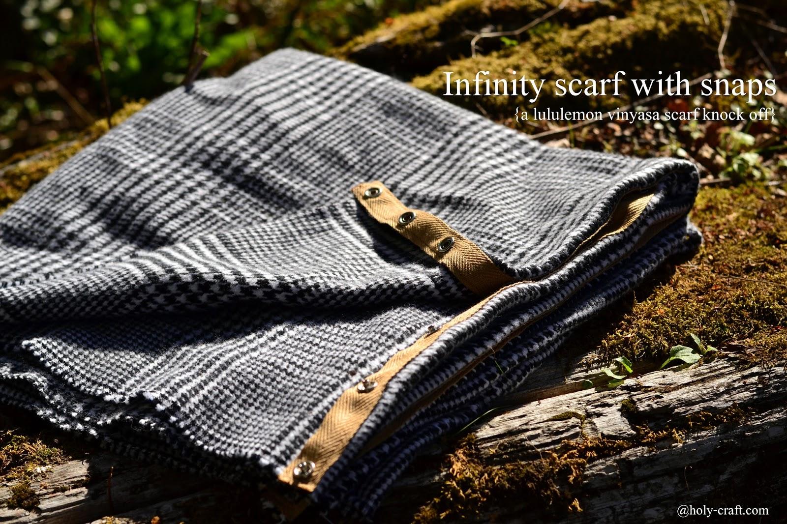 DIY infinity scarf with snaps--a Lululemon vinyasa scarf knockoff tutorial