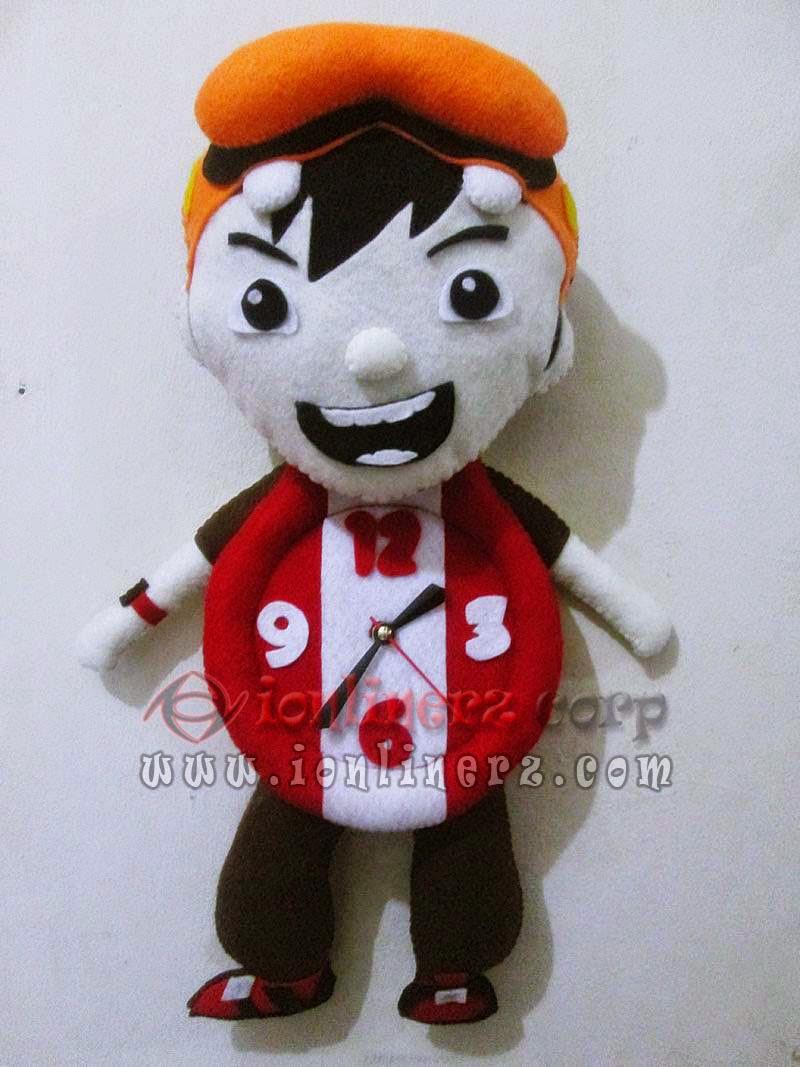 Jam Dinding Flanel Karakter Kartun Boneka Boboiboy
