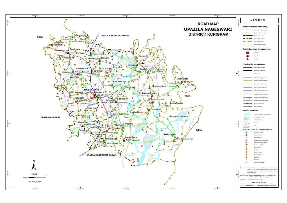 Nageshwari Upazila Road Map Kurigram District Bangladesh