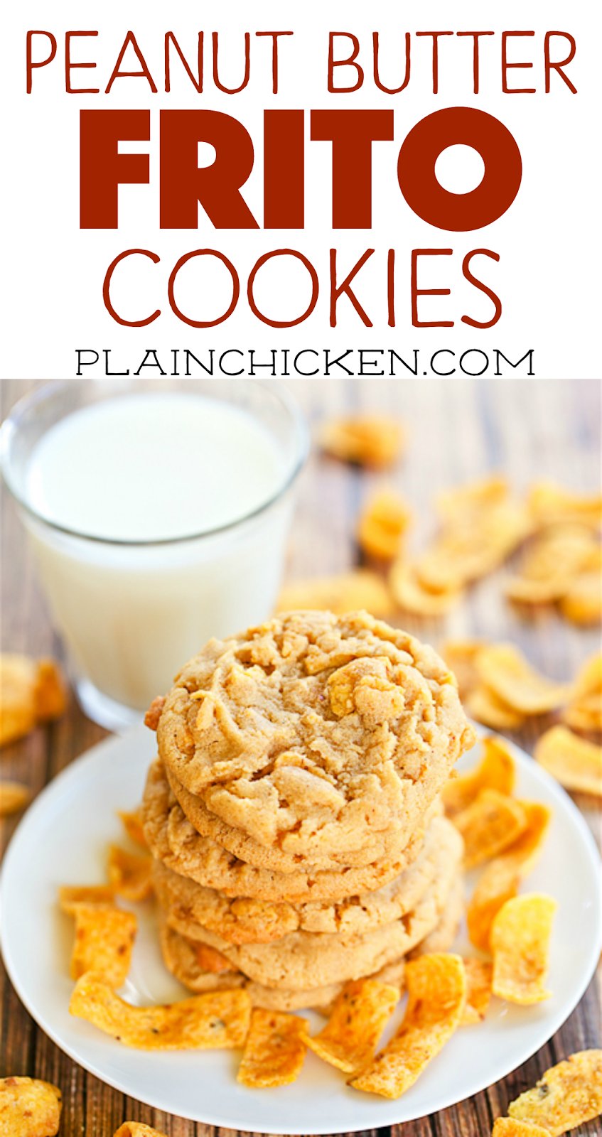 Peanut Butter Frito Cookies - sweet and salty goodness! These cookies are CRAZY good! Sweet and Salty in every bite. We could not stop eating these cookies. YUM! Great for parties and tailgating.