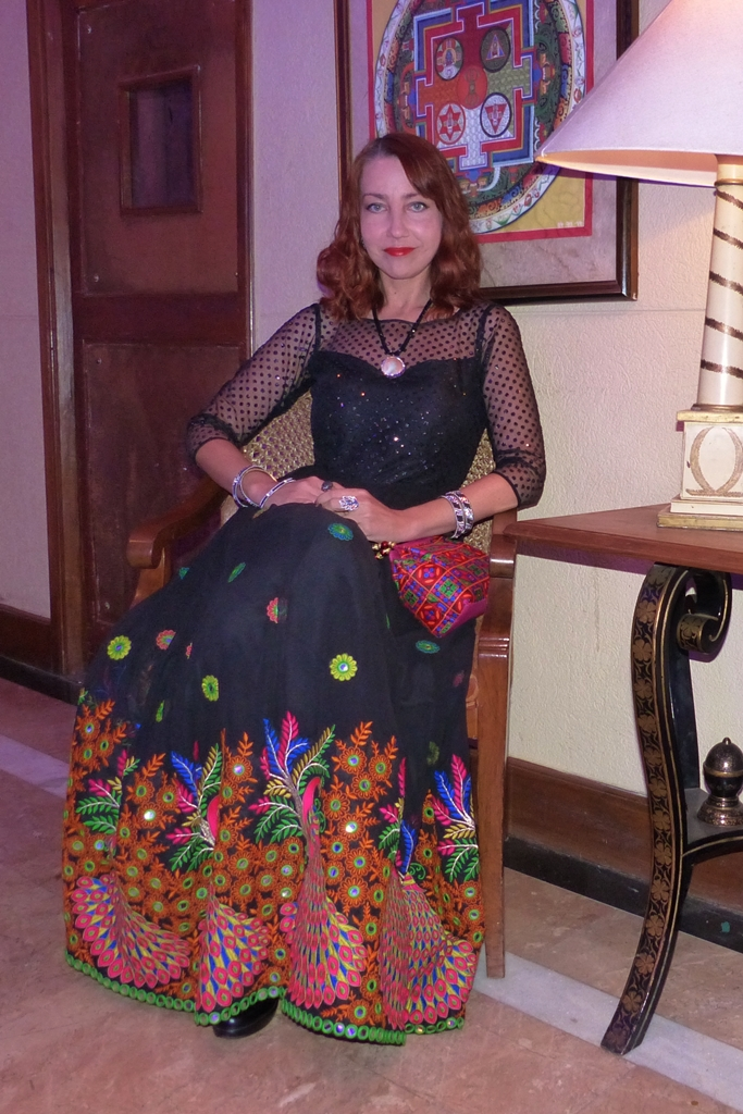Embroidered peacock black evening dress