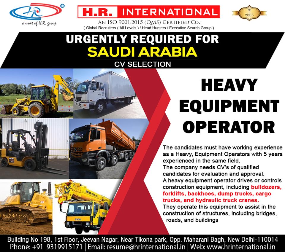 Heavy Equipment Operator for Saudi Arabia