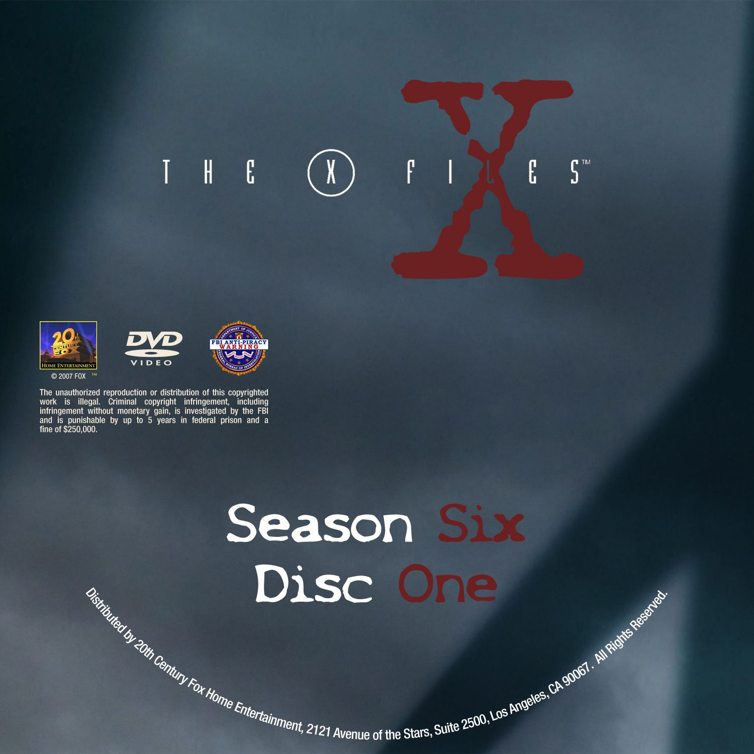 The X Files Season 6 DVD Label Disc1-6