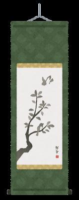 鳥の掛け軸のイラスト(丸表装)