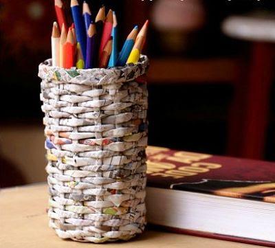Kerajinan Tangan Unik dan Mudah Tempat Pensil dari Kertas Koran Bekas