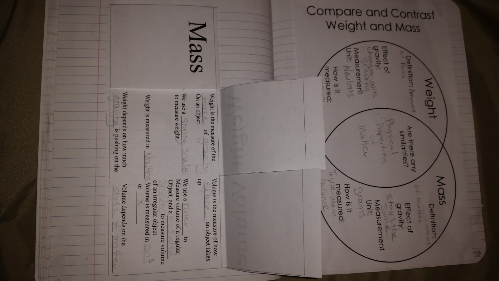 compare and contrast mass weight venn diagram consumer unit wiring split load foldable grand under development co ms kats science class week 4 september 14 18