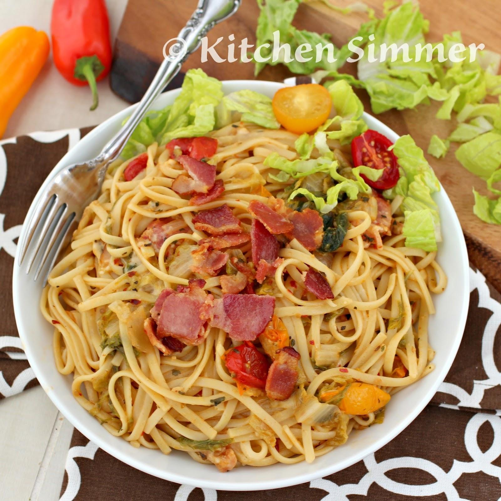 Kitchen Simmer: BLT Pasta (Bacon Lettuce and Tomato Pasta)