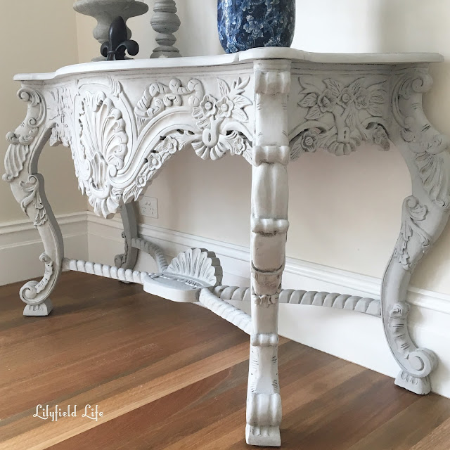 French style carved console in ASCP Paris Grey mix Lilyfield Life